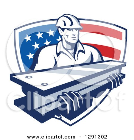 Clipart of a Retro Male Construction Worker Carrying an I Beam and Emerging from an American Flag Shield - Royalty Free Vector Illustration by patrimonio