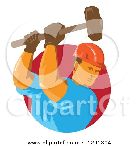 Clipart of a Retro Male Construction Worker Using a Sledgehammer and Emerging from a Red Circle - Royalty Free Vector Illustration by patrimonio