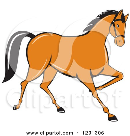 Clipart of a Cartoon Trotting Cantering Brown Horse - Royalty Free Vector Illustration by patrimonio
