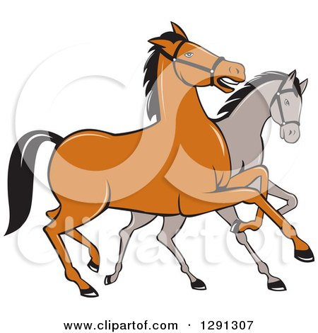 Clipart of Two Cartoon Horses Prancing - Royalty Free Vector ...
