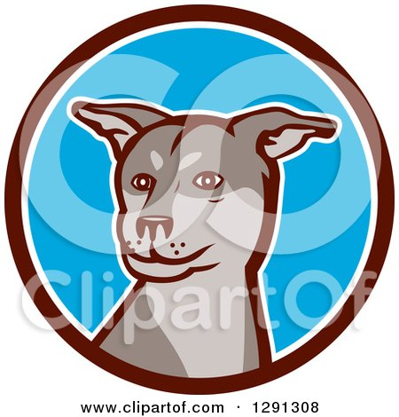 Clipart of a Husky Shar Pei Mix Breed Dog in a Brown White and Blue Circle - Royalty Free Vector Illustration by patrimonio