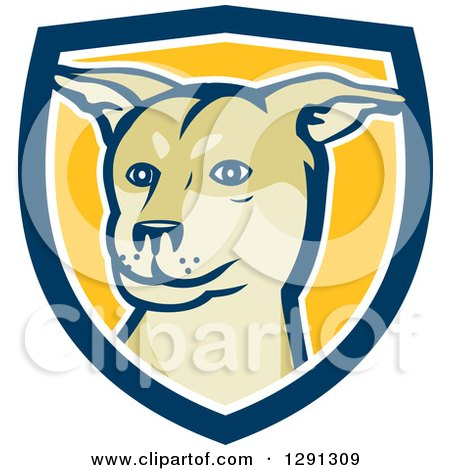 Clipart of a Husky Shar Pei Mix Breed Dog in a Blue White and Yellow Shield - Royalty Free Vector Illustration by patrimonio