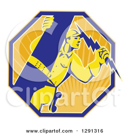 Clipart of a Retro Power Lineman Electrician Worker Holding a Lightning Bolt in a Sunshine Octagon - Royalty Free Vector Illustration by patrimonio