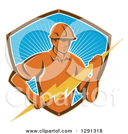Clipart of a Retro Male Electrician Holding a Lightning Bolt in a Brown White and Blue Sunshine Shield - Royalty Free Vector Illustration by patrimonio