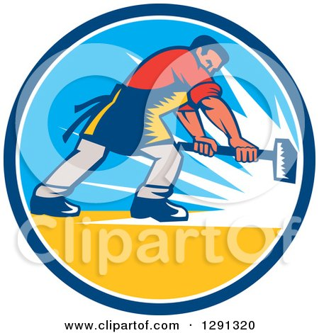 Clipart of a Retro Woodcut Caucasian Blacksmith Worker Using a Sledgehammer in a Blue White and Yellow Circle - Royalty Free Vector Illustration by patrimonio
