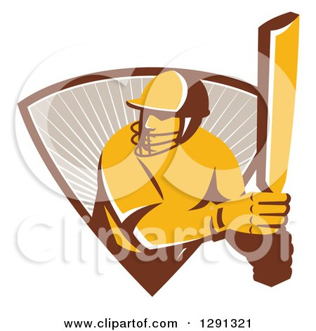Clipart of a Retro Cricket Batsman Player Emerging from a Triangle of Rays - Royalty Free Vector Illustration by patrimonio