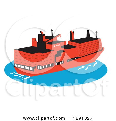 Clipart of a Retro Red Container Cargo Ship on Blue Ocean Water - Royalty Free Vector Illustration by patrimonio