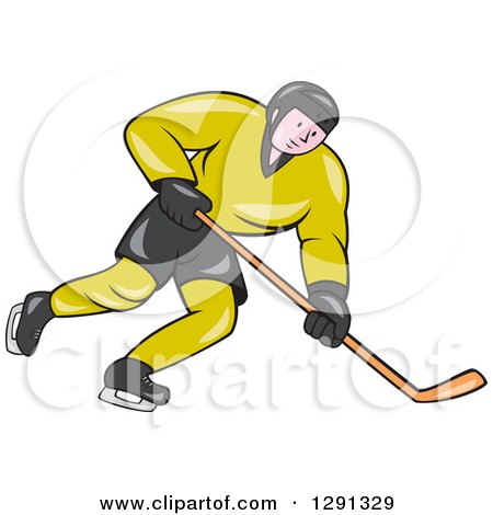 Clipart of a Cartoon White Male Hockey Player Skating in a Green and Black Uniform - Royalty Free Vector Illustration by patrimonio