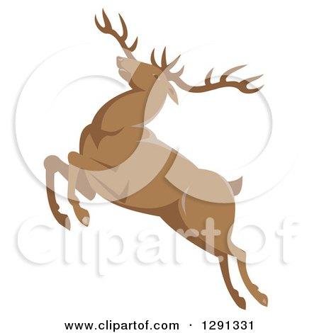 Clipart of a Retro Leaping Elk Buck - Royalty Free Vector Illustration by patrimonio