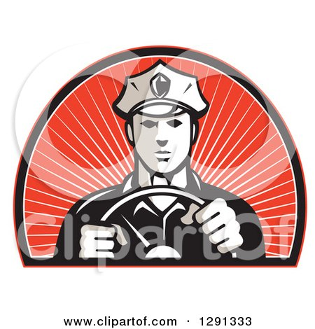 Clipart of a Retro Male Police Officer Driving with Both Hands on the Steering Wheel in an Arch of Red Sunshine - Royalty Free Vector Illustration by patrimonio