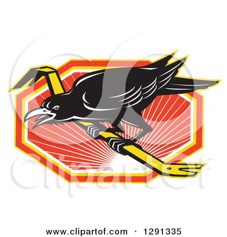 Clipart of a Retro Raven on a Crowbar over an Orange White and Yellow Sunset Hexagon - Royalty Free Vector Illustration by patrimonio