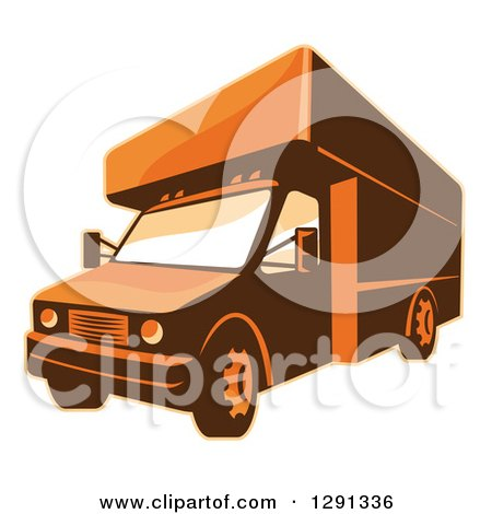 Clipart of a Retro Brown and Orange Toned Delivery Van or Moving Truck - Royalty Free Vector Illustration by patrimonio