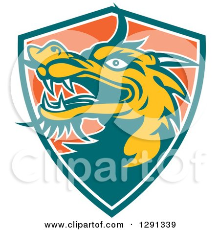 Clipart of a Retro Chinese Dragon Head Emerging from a Teal White and Orange Shield - Royalty Free Vector Illustration by patrimonio