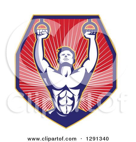 Clipart of a Retro Male Crossfit Athlete or Gymnast with Rings in a Shield of Rays - Royalty Free Vector Illustration by patrimonio