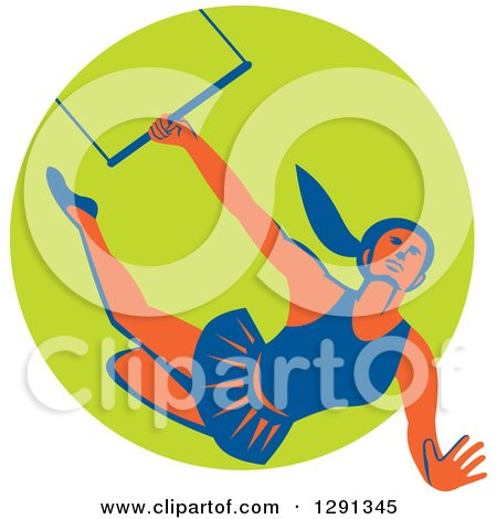 Clipart of a Retro Female Acrobat Flying on a Trapeze and Emerging from a Green Circle - Royalty Free Vector Illustration by patrimonio