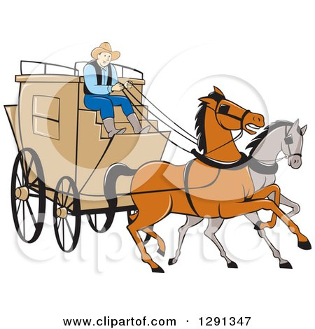 Clipart of a Cartoon Stagecoach Driver on a Carriage with Horses in the Front - Royalty Free Vector Illustration by patrimonio