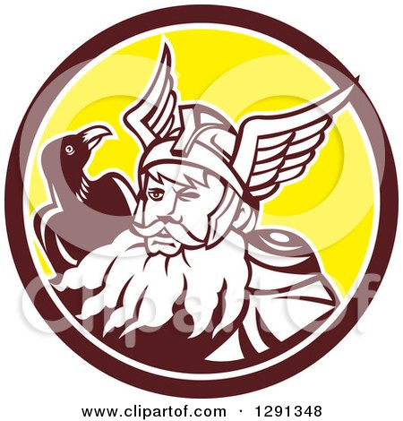 Clipart of a Retro Norse Mythology God Odin with a Crow in a Brown White and Yellow Circle - Royalty Free Vector Illustration by patrimonio
