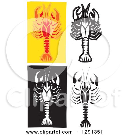 Clipart of Woodcut Crawdads - Royalty Free Vector Illustration by xunantunich