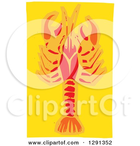 Clipart of a Woodcut Red and Orange Crawdad on Yellow - Royalty Free Vector Illustration by xunantunich