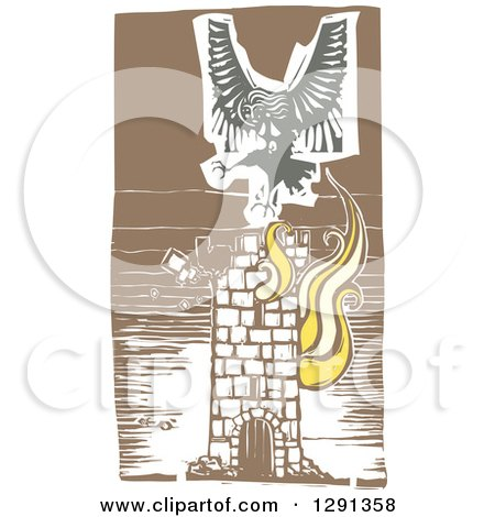 Clipart of a Woodcut Female Harpy of Greek Mythology, Flying over a Burning Tower - Royalty Free Vector Illustration by xunantunich
