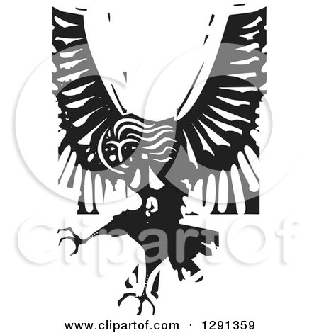 Clipart of a Black and White Woodcut Female Harpy of Greek Mythology - Royalty Free Vector Illustration by xunantunich