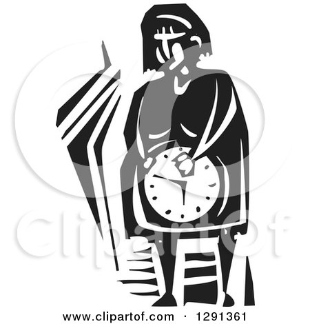 Clipart of a Black and White Woodcut Pregnant Woman Holding Her Clock Belly - Royalty Free Vector Illustration by xunantunich