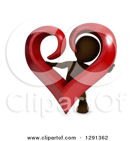 Clipart of a 3d Brown Man Holding and Looking Through a Giant Red Valentines Day Love Heart - Royalty Free Illustration by KJ Pargeter