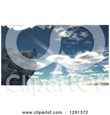 Clipart of a 3d Lone Man Sitting on a Cliff on a Mountain Against Sunshine and a Cloudy Sky - Royalty Free Illustration by KJ Pargeter