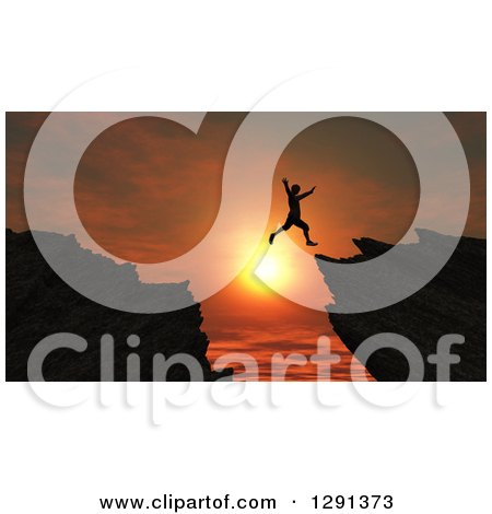 Clipart of a 3d Silhouetted Man Leaping from One Cliff to Another over an Orange Sunset - Royalty Free Illustration by KJ Pargeter