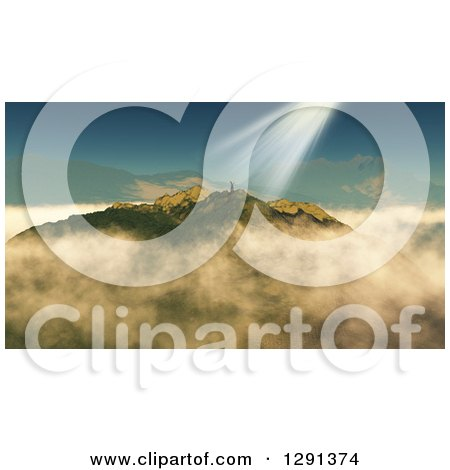 Clipart of a 3d Successful Lone Man Holding up His Arms Atop a Mountain, with Sun Shining down on Him - Royalty Free Illustration by KJ Pargeter