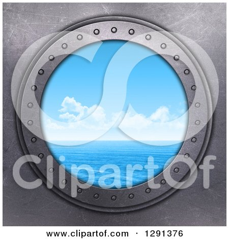 Clipart of a 3d Round Metal Port Hole with a View out on a Sunny Blue Ocean - Royalty Free Illustration by KJ Pargeter