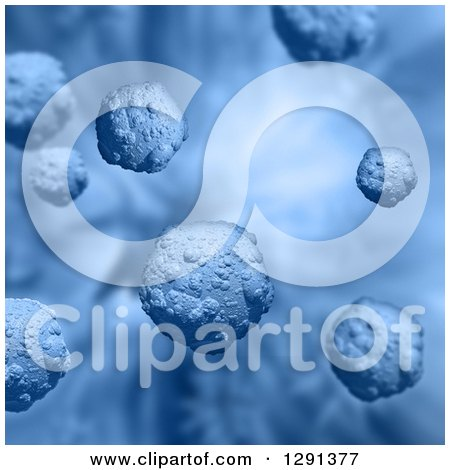 Clipart of a Blue Background of 3d Floating Virus Cells - Royalty Free Illustration by KJ Pargeter