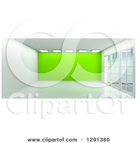 Clipart of a 3d Empty Room Interior with Floor to Ceiling Windows, Lights and a Lime Green Feature Wall - Royalty Free Illustration by KJ Pargeter