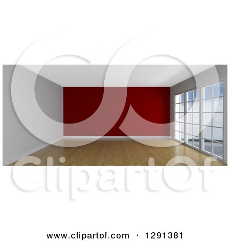 Clipart of a 3d Empty Room Interior with Floor to Ceiling Windows and a Red Feature Wall - Royalty Free Illustration by KJ Pargeter
