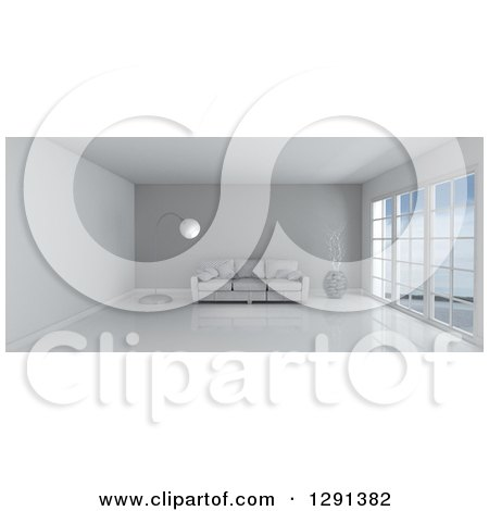 Clipart of a 3d White Room Interior with Floor to Ceiling Windows, a Gray Feature Wall and Furniture - Royalty Free Illustration by KJ Pargeter