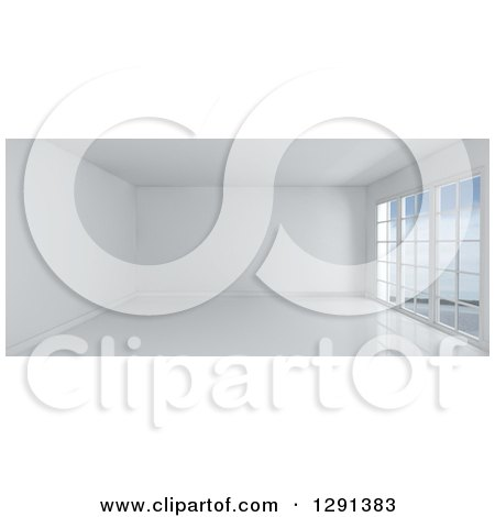 Clipart of a 3d Empty White Room Interior with Floor to Ceiling Windows - Royalty Free Illustration by KJ Pargeter