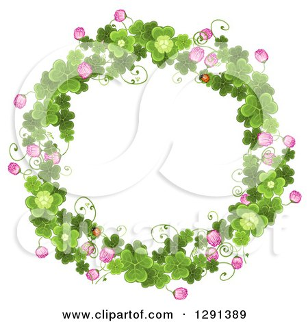 Clipart Of A Round St Patricks Day Wreath Of Shamrock Clovers And Flowers Royalty Free Vector Illustration