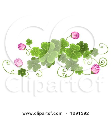 Clipart of a St Patricks Day Border Design Element of Shamrock Clovers and Pink Flowers - Royalty Free Vector Illustration by merlinul