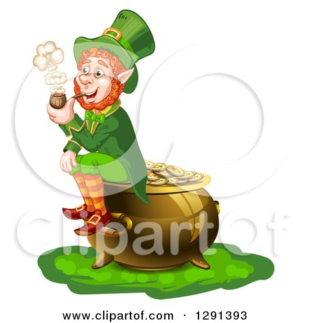 Clipart of a St Patricks Day Leprechaun Smoking a Pipe and Sitting on a Pot of Gold - Royalty Free Vector Illustration by merlinul