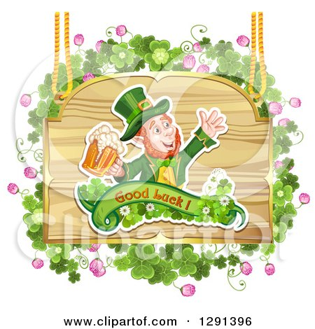 Clipart of a St Patricks Day Leprechaun Cheering with Beer, on a Wood Sign with Shamrocks - Royalty Free Vector Illustration by merlinul
