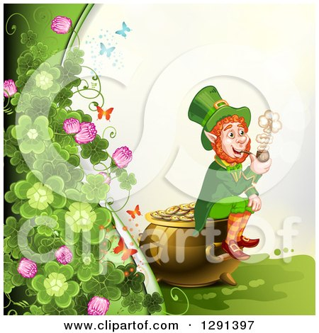 Clipart of a St Patricks Day Border of Butterflies and Clovers with a Leprechaun Smoking a Pipe and Sitting on a Pot of Gold - Royalty Free Vector Illustration by merlinul