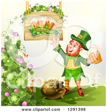 Clipart of a St Patricks Day Leprechaun Holding a Beer by a Pot of Gold, Shamrocks and Sign - Royalty Free Vector Illustration by merlinul
