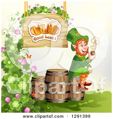 Clipart of a St Patricks Day Leprechaun Smoking a Pipe on a Beer Keg Under a Good Luck Beer Sign with Shamrocks - Royalty Free Vector Illustration by merlinul