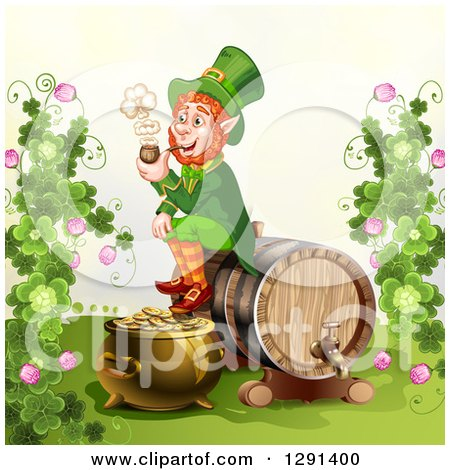 Clipart of a St Patricks Day Leprechaun Smoking a Pipe and Sitting on a Beer Keg with a Pot of Gold and Clovers - Royalty Free Vector Illustration by merlinul
