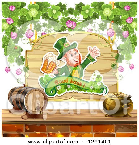 Clipart of a St Patricks Day Leprechaun Cheering with Beer, on a Wood Sign with Shamrocks over a Keg and Pot of Gold - Royalty Free Vector Illustration by merlinul
