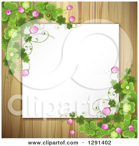 Clipart of a Blank White Sign or Paper over Wood, with St Patricks Day Clovers and Flowers - Royalty Free Vector Illustration by merlinul