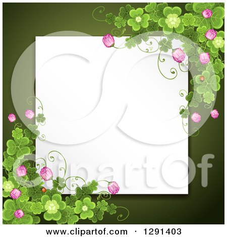 Clipart of a Blank White Sign or Paper over Green, with St Patricks Day Clovers and Flowers - Royalty Free Vector Illustration by merlinul