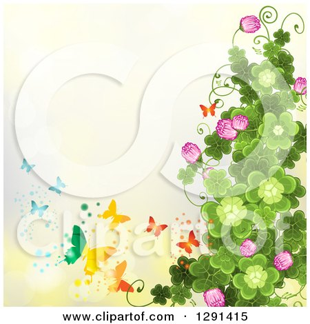 Clipart Of A St Patricks Day Background Of Shamrock Clovers And Flowers With Rainbow Butterflies On Yellow Royalty Free Vector Illustration