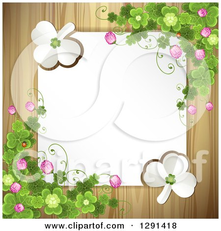 Clipart of a Blank White Sign or Paper over Wood, with St Patricks Day Clovers, White Shamrocks, and Flowers - Royalty Free Vector Illustration by merlinul