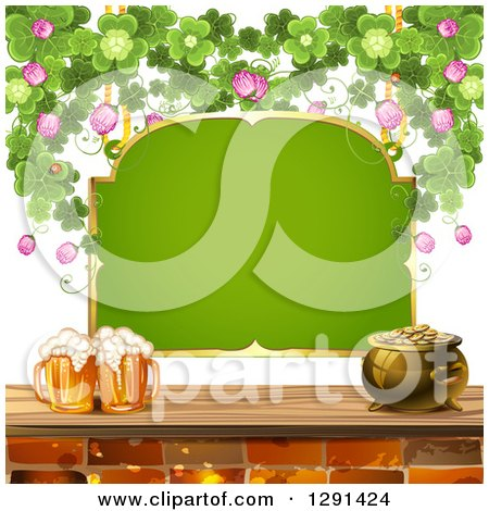 Clipart Of A Blank Green St Patricks Day Sign With A Pot Of Gold Shamrocks And Beer Mugs Royalty Free Vector Illustration